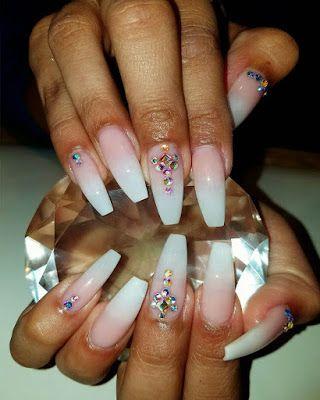 elegant coffin nail designs with rhinestones in 2020