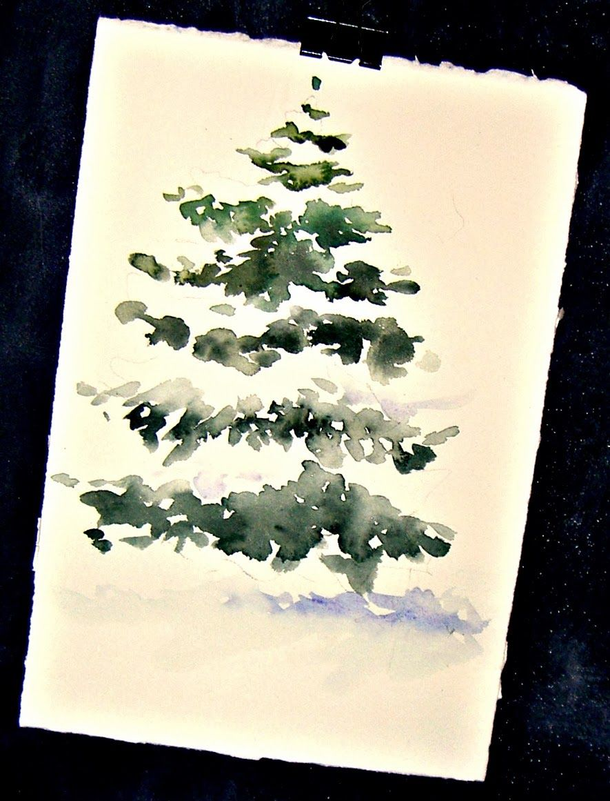 Snow Covered Pine Watercolor Christmas Cards Christmas