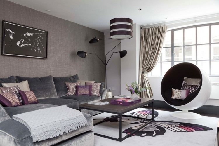 couleur aubergine et quoi l 39 associer dans chaque pi ce les salon moderne murs gris et. Black Bedroom Furniture Sets. Home Design Ideas
