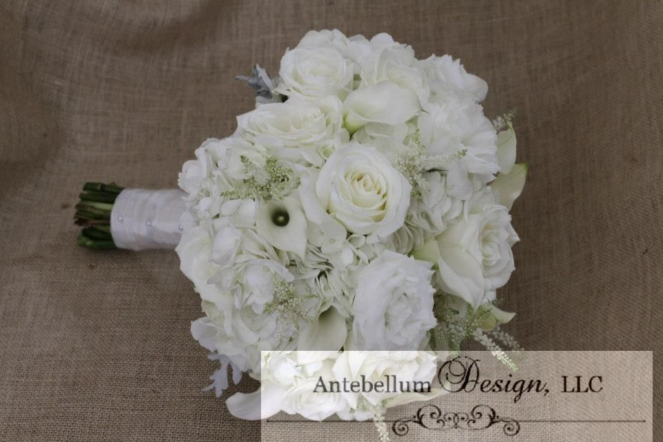White Bridal Bouquet With Wedding Flowers Like Calla Lilies Astilbe And Lisianthus Dallas