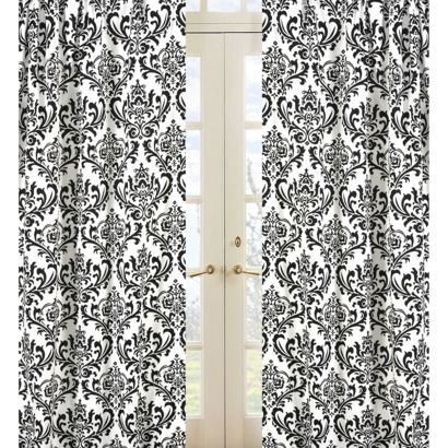 White Curtains black and white curtains target : Sweet Jojo Designs Black and White Isabella Window Panels - Print ...