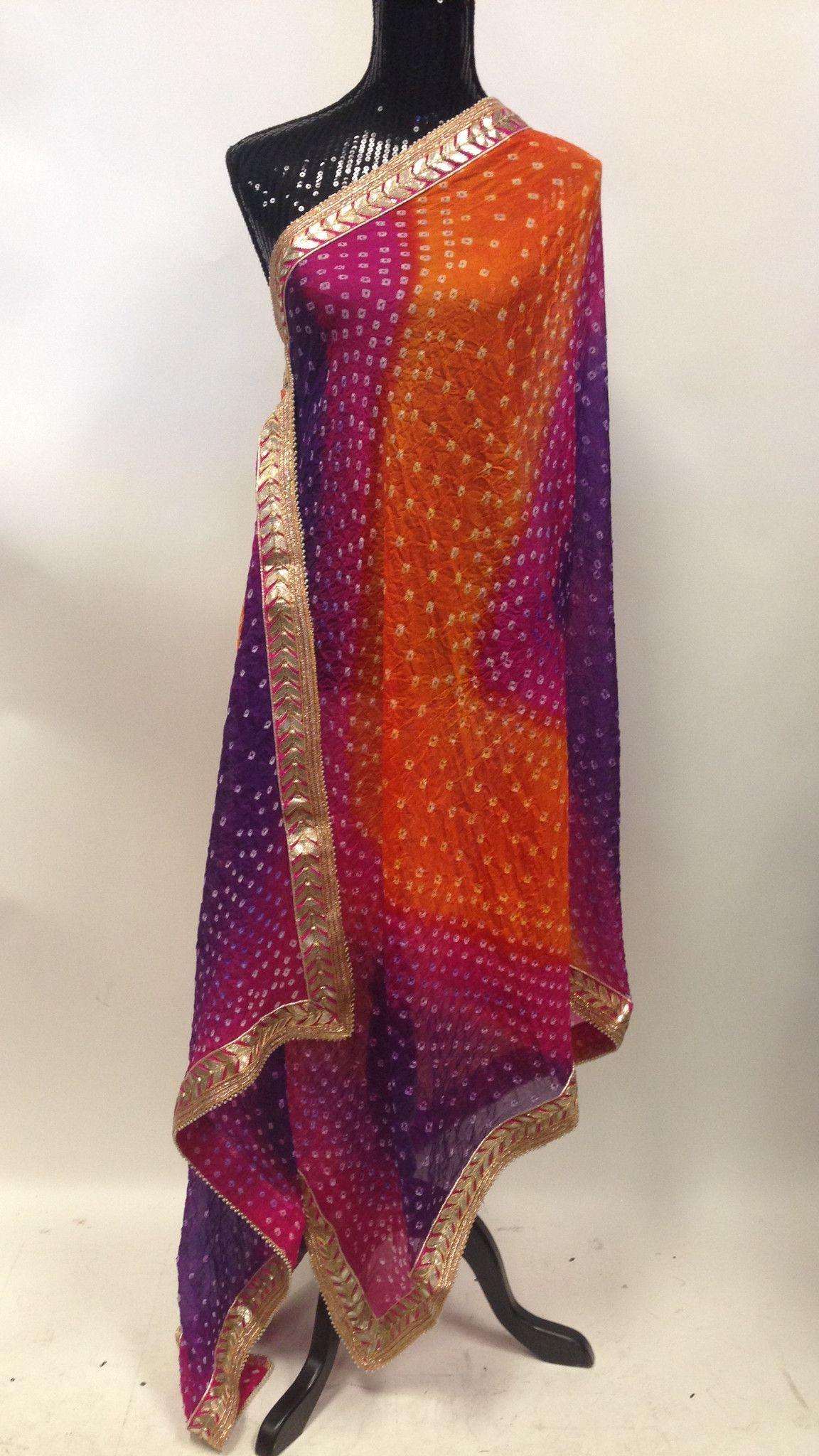 Bandhani Silk Dupatta - Violet & Orange