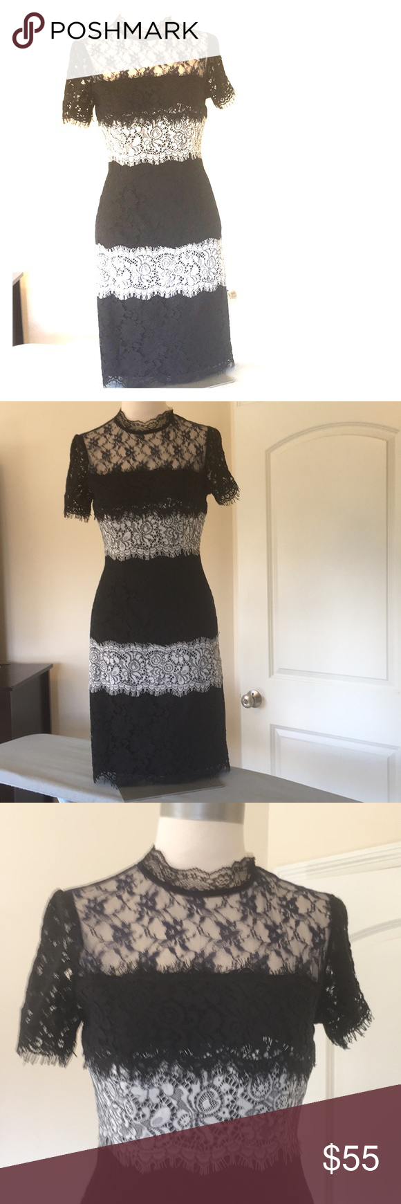 Everleigh Dress Navy Black Cream Size Xs Nwt Beautiful Black Navy Cream Color Lace Dress With Attached Black Slip Dresses Cream Color Lace Dress Clothes Design [ 1740 x 580 Pixel ]