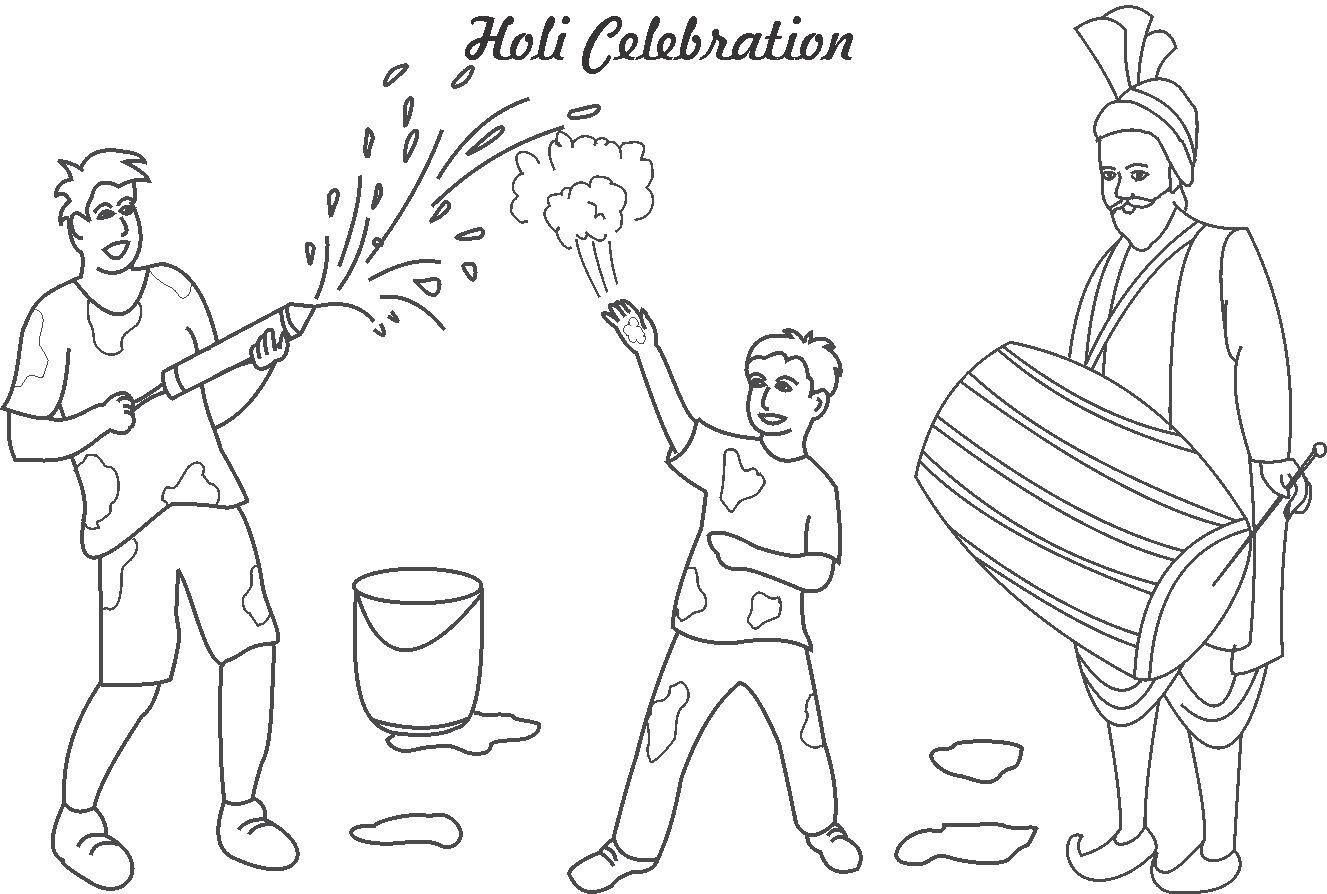 Holi Celebrations Coloring Printable Page For Kids