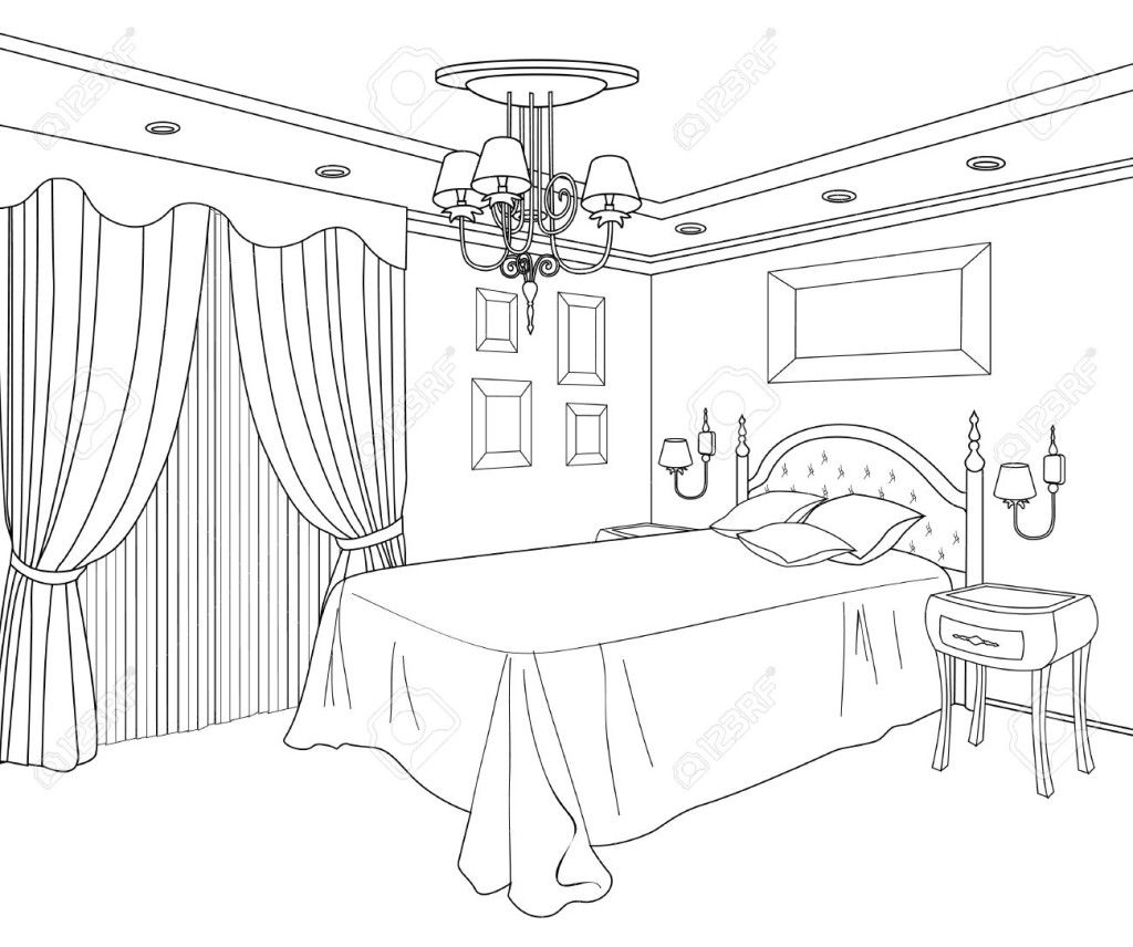 Colorful Book Room: Bedroom Coloring Page