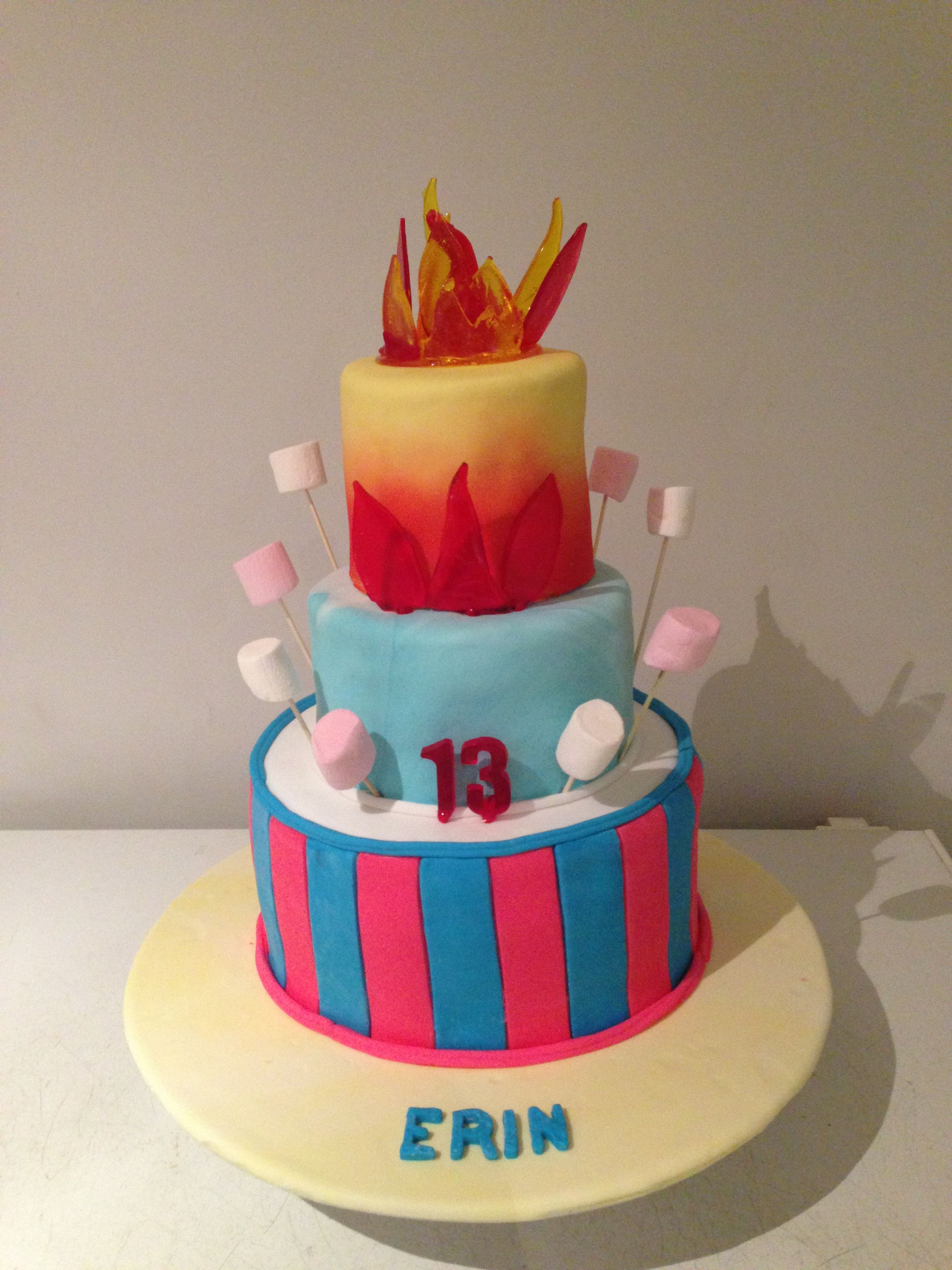 Bonfire themed cake. Isomalt flames. Fondant covered ...