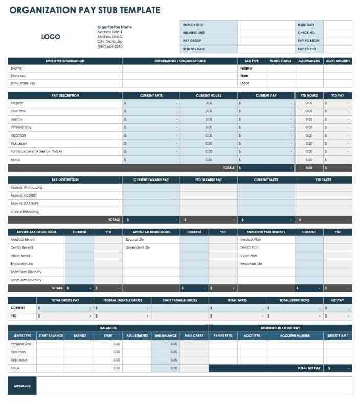 Blank Pay Stub Template Word free pay stub templates for excel word