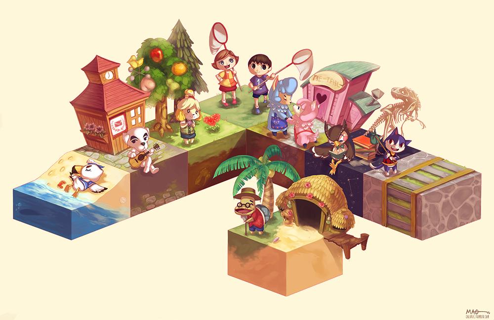 Animal Crossing New Leaf Cube By Jessica Mao どうぶつの森 どうぶつの森 イラスト キャラクター イラスト