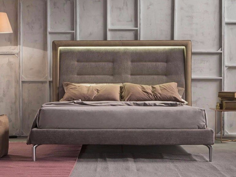 Upholstered Fabric Double Bed With Upholstered Headboard