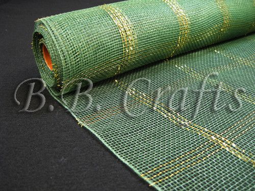 Metallic Gold Chex Design Moss