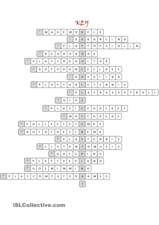 Free Time Activities Crossword Ingles Basico Para Ninos Ingles Basico Aprender Ingles