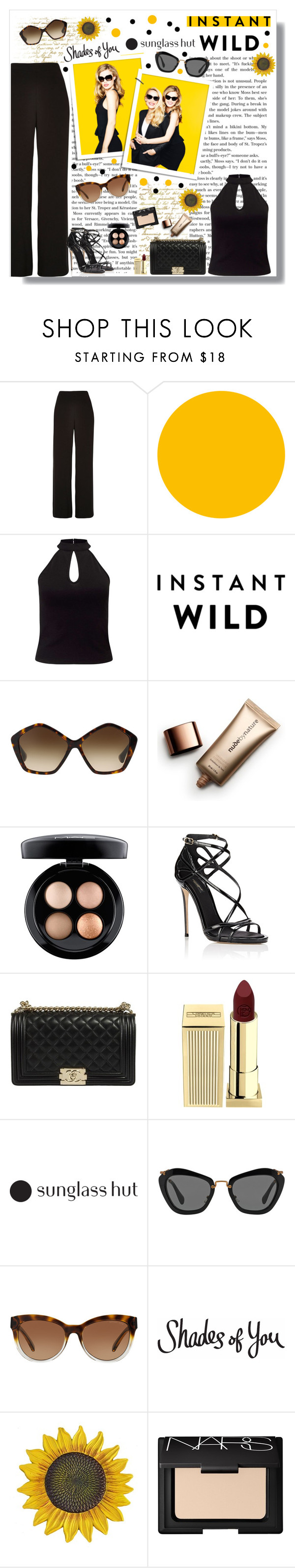 """""""Shades of You: Sunglass Hut Contest Entry"""" by polybaby ❤ liked on Polyvore featuring River Island, Jagger, Miss Selfridge, Miu Miu, Nude by Nature, MAC Cosmetics, Dolce&Gabbana, Lipstick Queen, Michael Kors and NARS Cosmetics"""