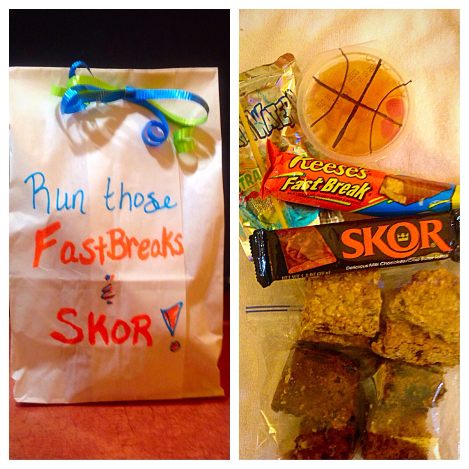"Basketball tournament goody bags ""Run those Fast Breaks ..."