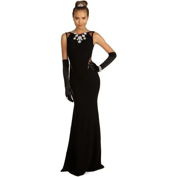 Tamara-Black Prom Dress ($50) ❤ liked on Polyvore featuring dresses, black prom dresses, black dress, kohl dresses, black day dress and prom dresses
