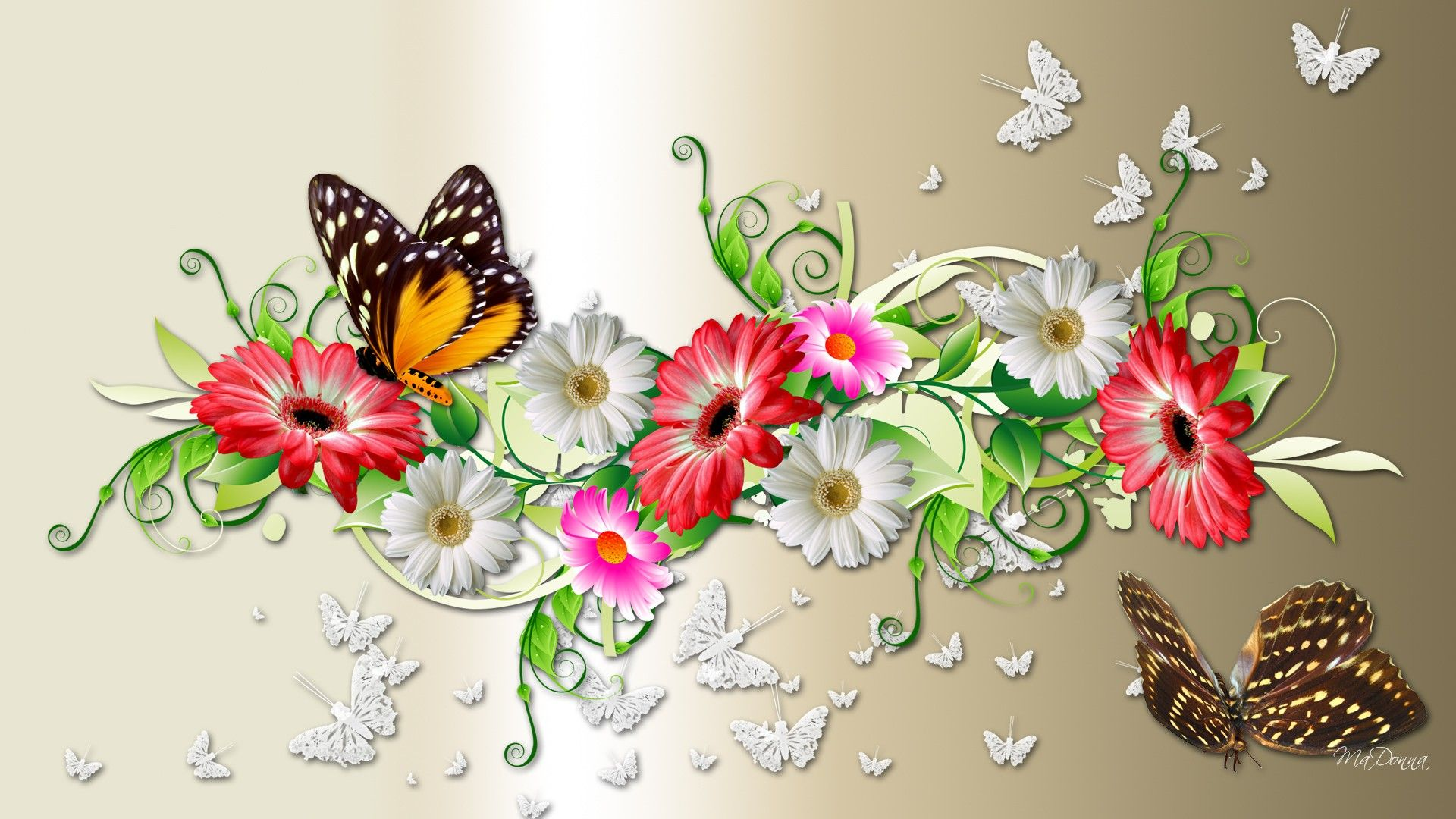 New Spring Flowers And Butterflies Wallpaper Butterfly Wallpaper
