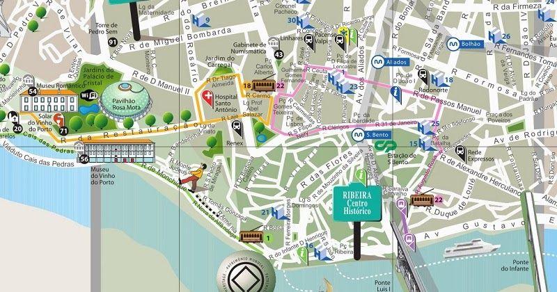 mapa turistico porto Mapa turístico do Porto #viagem #lisboa #portugal | Dicas de  mapa turistico porto