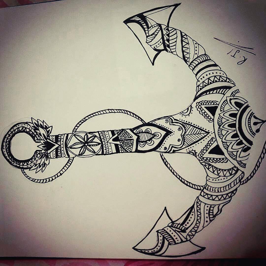 @ramandala - the anchor ☺☺ #Mandala #mandalachallange #zentangle #black #white #art #draw #drawing #anchor #ramandala #challenge #day4 #inktober #inctober