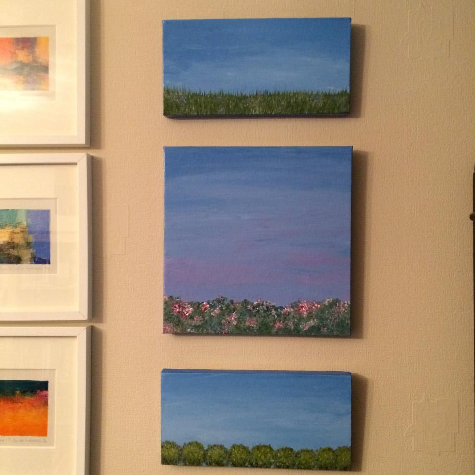 Three Small Landscape Paintings Hanging In A Home In England Landscape Paintings Landscape Painting