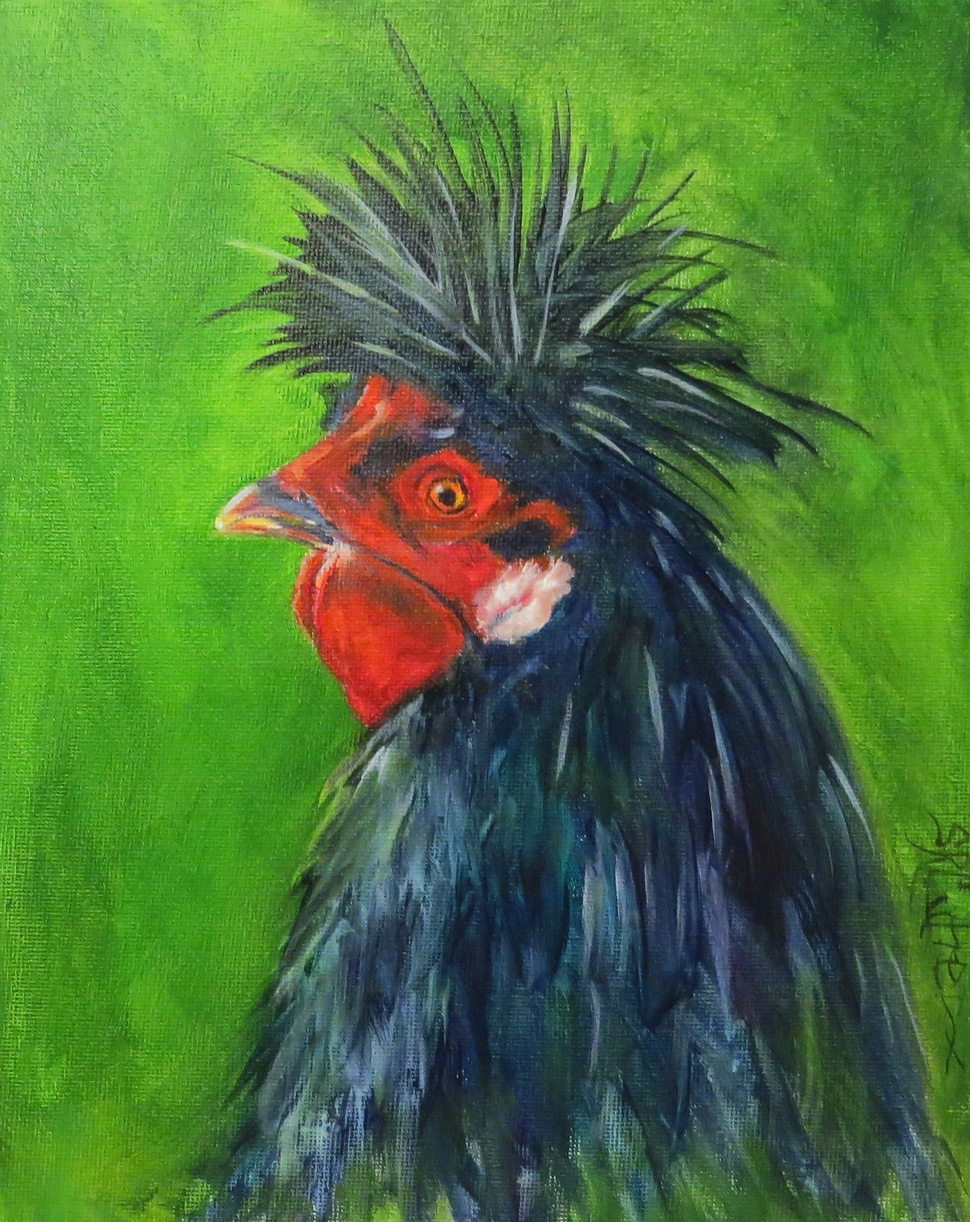 """Spike"" rooster in oils on 8"" x 10"" canvas board $69.00 plus shipping. Once you click on the website- click the ""visit button"" and it should take you to Spike!"