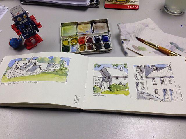 Sketches in progress by John Harrison, artist, via Flickr