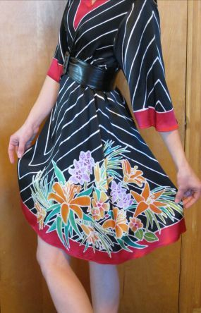 hand+painted+silk+clothing | Hand-Painted Silk Charmeuse Kimono Dress