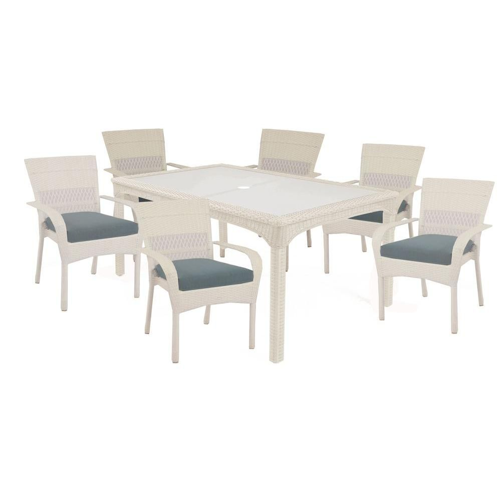 Martha Living Charlottetown White 7 Piece All Weather Wicker Patio Dining Set With