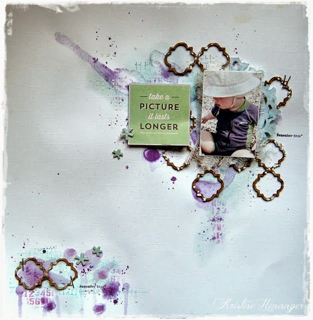 Layout made by DT member Kristine Henanger. Using Blue Fern Studios chipboard; Quatrefoil page panel With tutorial