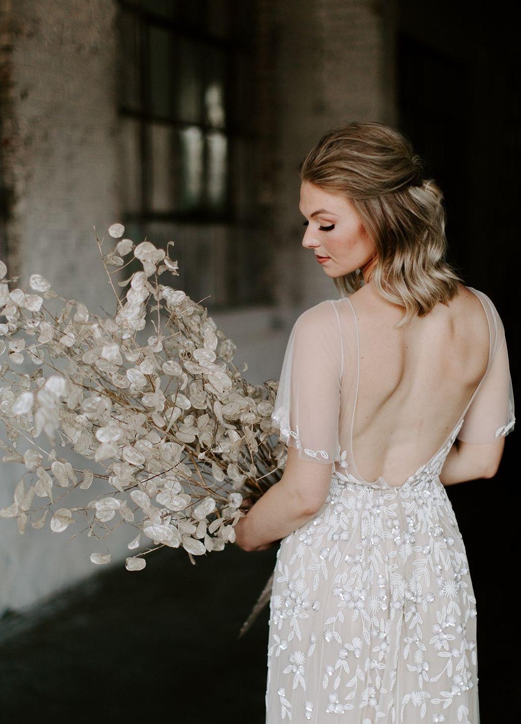 bridal half updo shoulder length natural makeup brick
