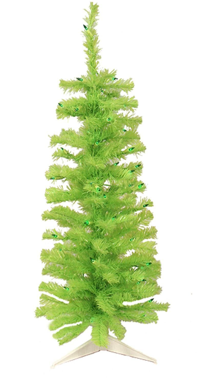 4.5\' Pre-Lit Chartreuse Green Artificial Pencil Christmas Tree ...