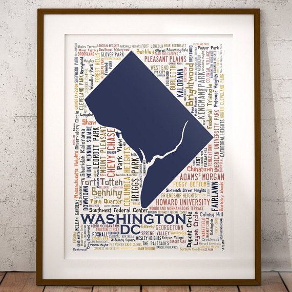 Washington Dc Typography Map Art Print Washington Dc Poster Print Washington Dc Neighborhood Map Print Choose Your Color And Size With Images Map Art Print Map Art Poster Prints