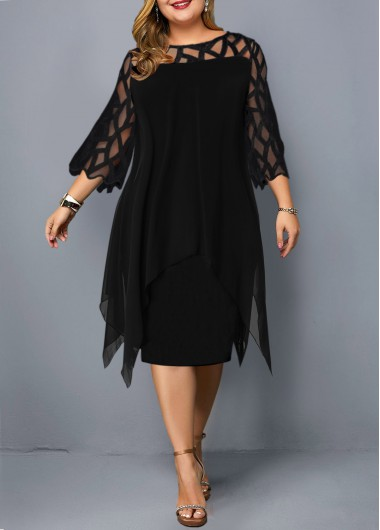 ROTITA Plus Size Chiffon Cardigan and Lace Sleevel