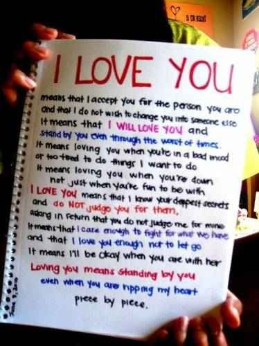 I could tell my boyfriend don't know how much I love him so I wrote him this...