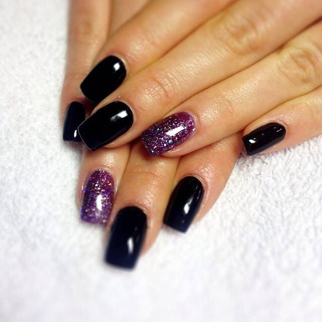 Black with purple sparkle nail design | Black and purple ...