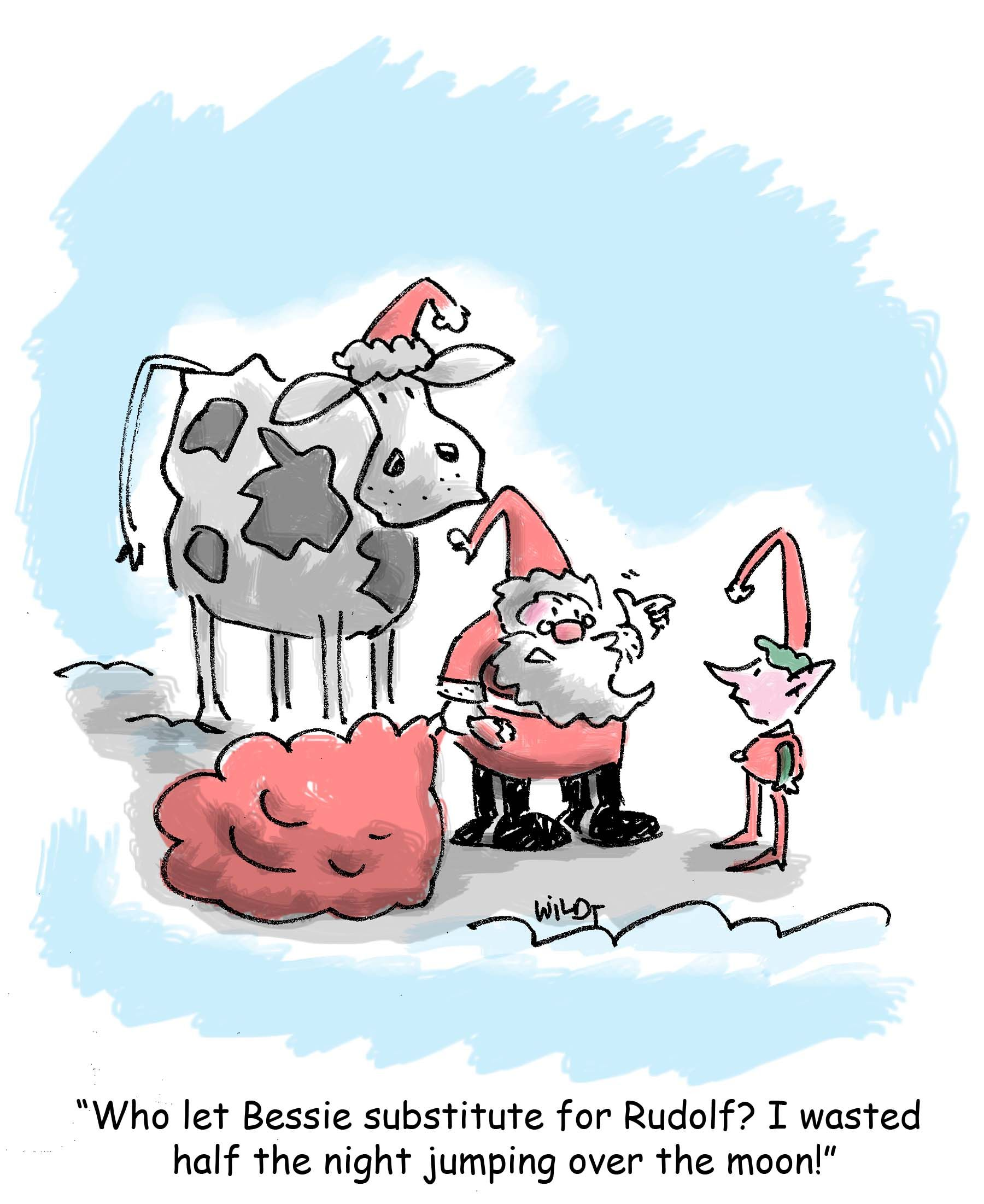 Why cows are no substitute for reindeer. Holiday cartoon