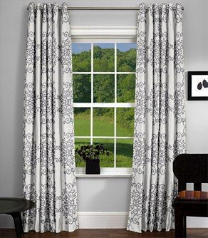 Dining Room Curtains  Soft Scrolls Charcoal Grommet Drapes Unique Drapes For Dining Room Decorating Design