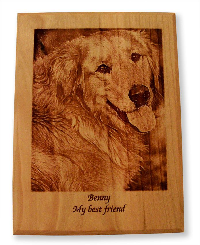 Benny Photo Laser Engraved On Cherry Wood By Hal Woodworking Dog Petmemorial Pets Wood Woodworking Gifts Wood Pet Urn Pet Memorial Plaque Wood Urn