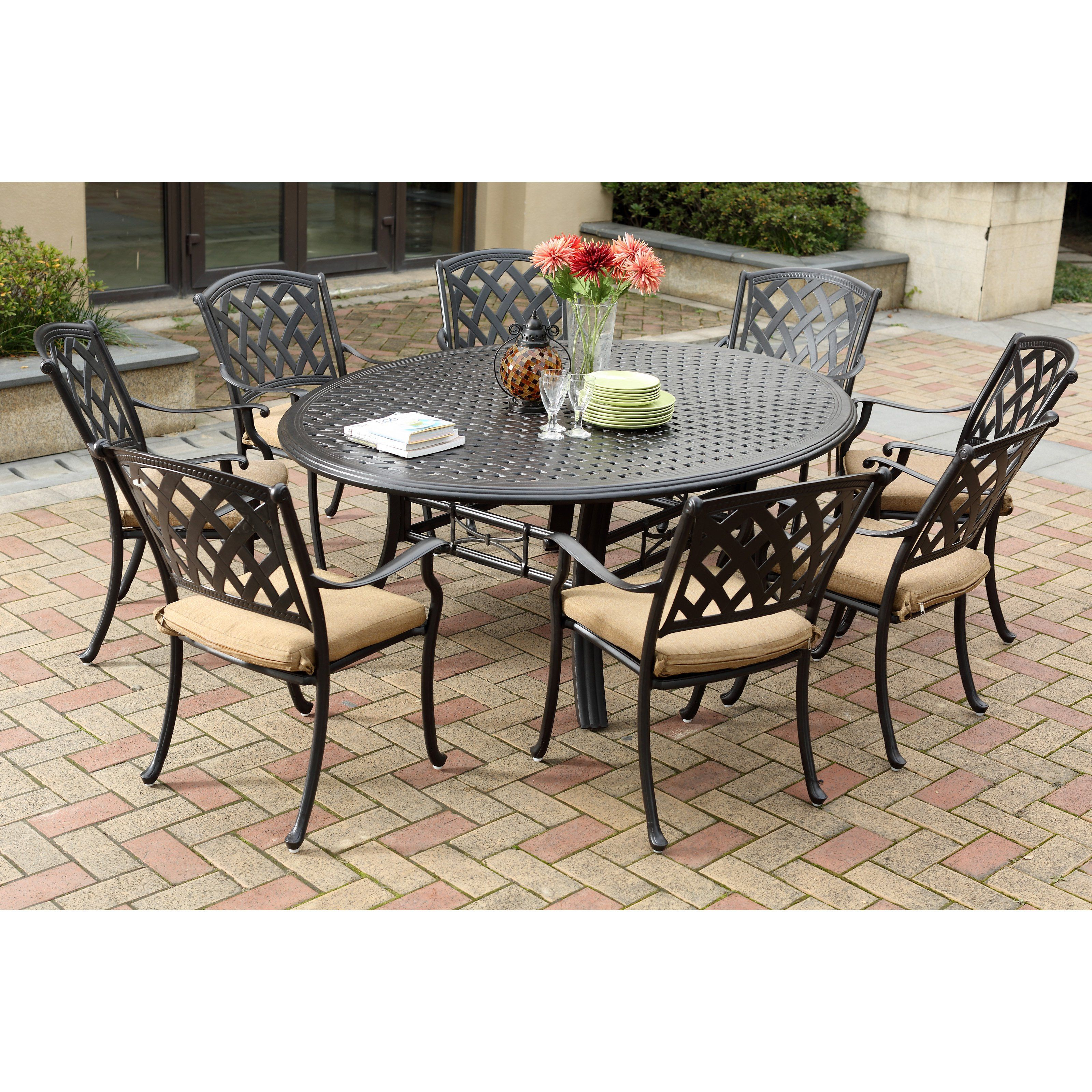 sunbrella set square cast patio with dining ab aluminum p oakland sets living piece cushions