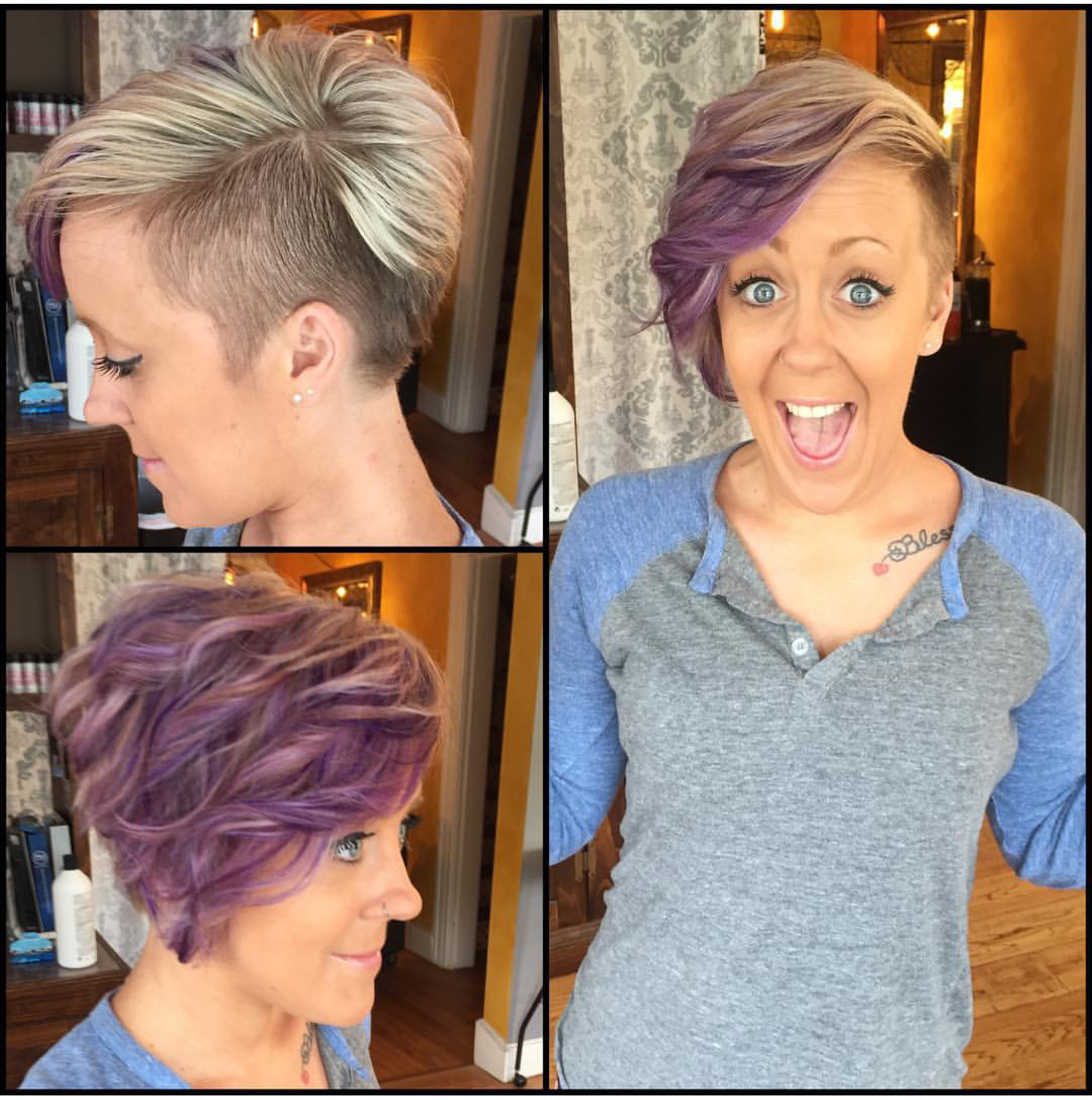 Short Side Shaved Funky Purple Color Hair Idea Haircut