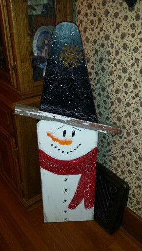 Reversible Old Ironing Board Snowman On One Side Santa On