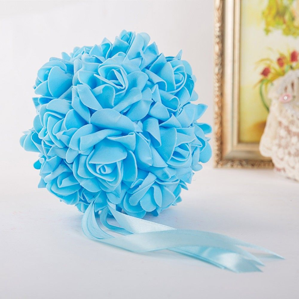 10pcs14cm Foam Flower Ball Artificial Rose Hanging Kissing Balls for Wedding Party Decoration - Wedding Look