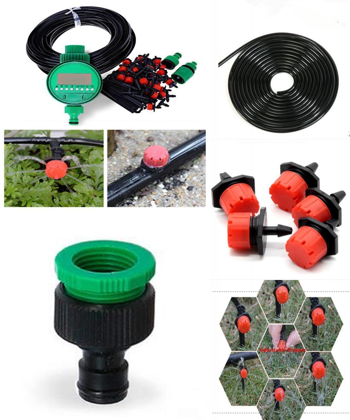 25 M Auto Irrigation System Garden Drip Watering Micro Self Plant Diy Hose Kit