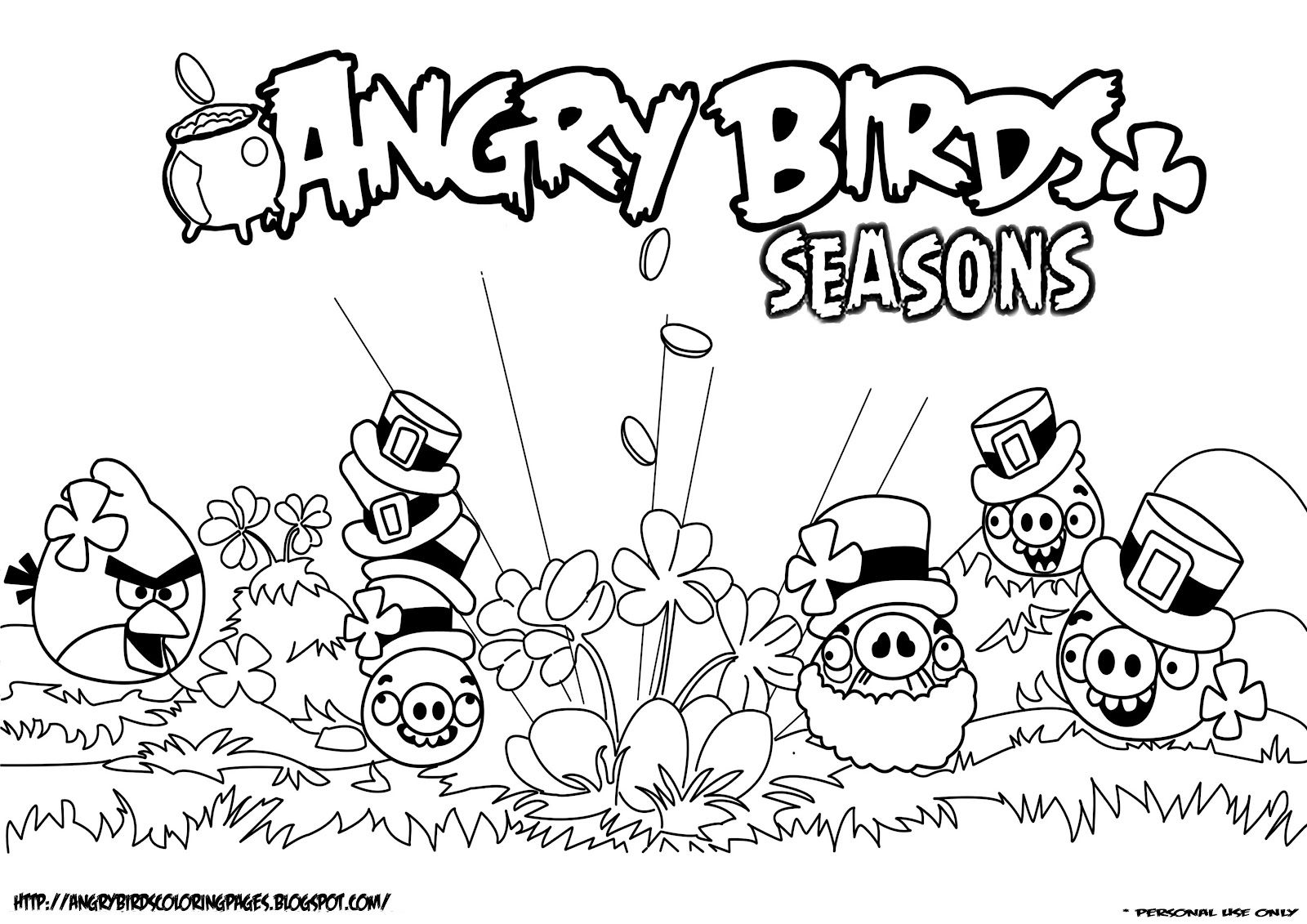 Piggies Seasons Coloring Page  Angry Birds Papercraft