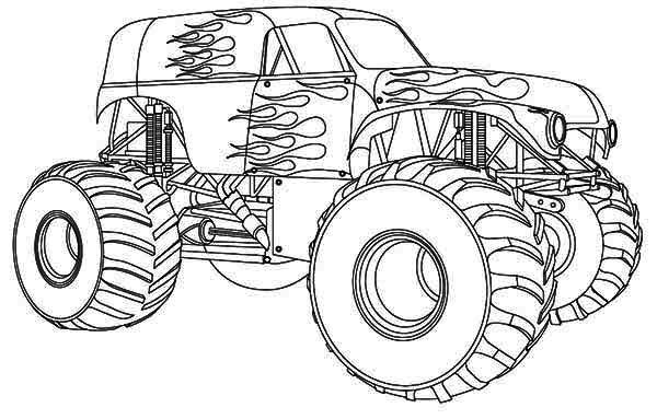 Monster truck with flames | Coloring pages | Pinterest | Monster ...