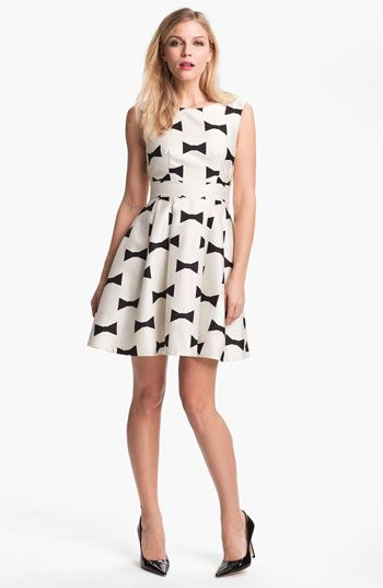 9d87640c82f2 Free shipping and returns on kate spade new york 'marilyn' fit & flare dress  at Nordstrom.com. A sprightly bow print echoes the clean lines of a darted,  ...