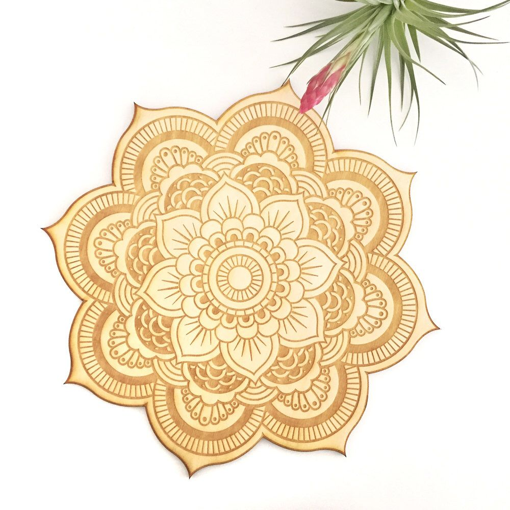 Floral Mandala Wood Sign - Spiritual Wall Art, Wood Mandala, Sacred ...