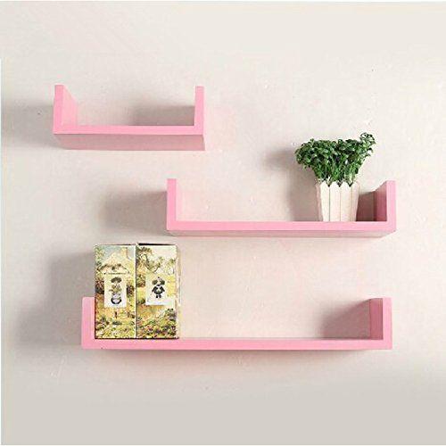 Onlineshoppee Mdf Handicraft Wall Decor U Shaped Designer Wall Shelf Pack Of 3 Pink Check Out The Image By Visitin Kids Shelves Kids Decor Simple Bookshelf