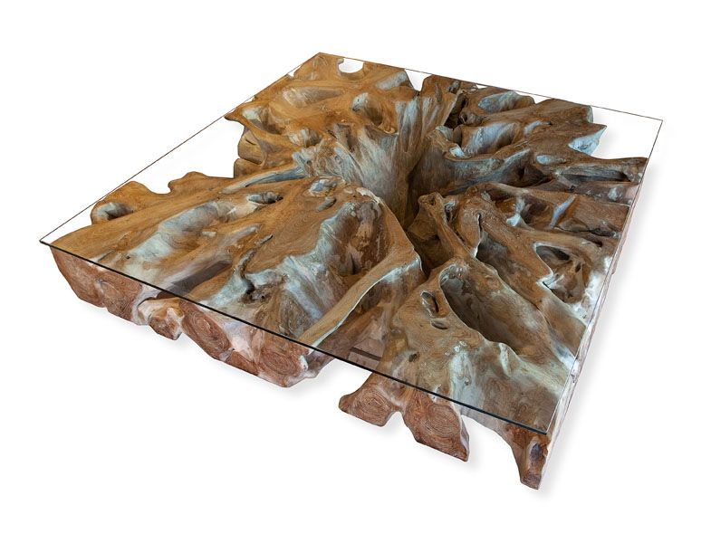 Akar Coffee Table recycled tree roots with glass top All about
