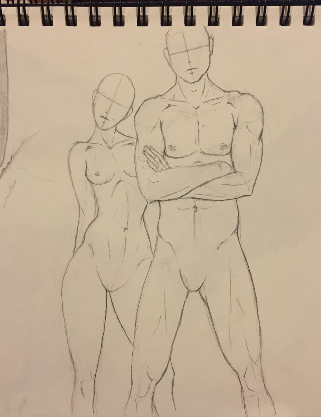 A drawing of faceless generic human beings and idealized proportions