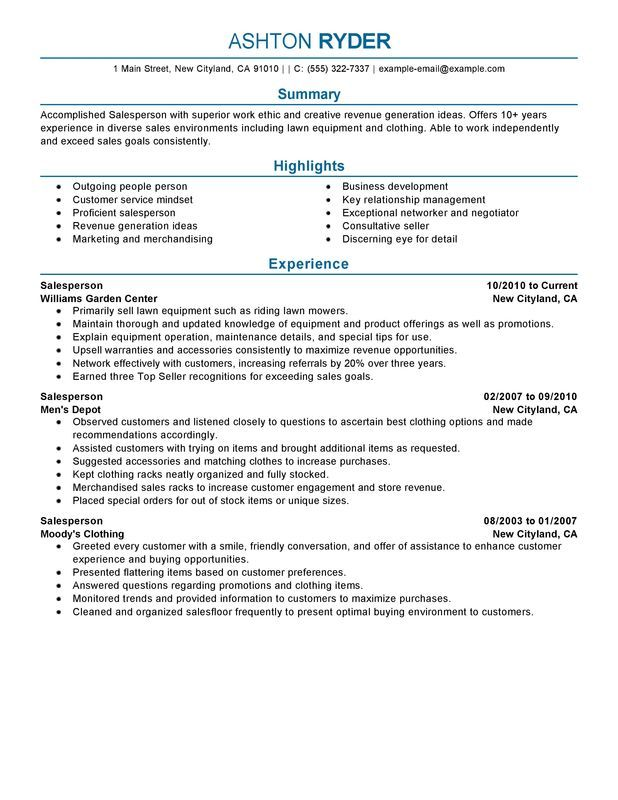 Salesperson Resume Sample cv Pinterest Sample resume and