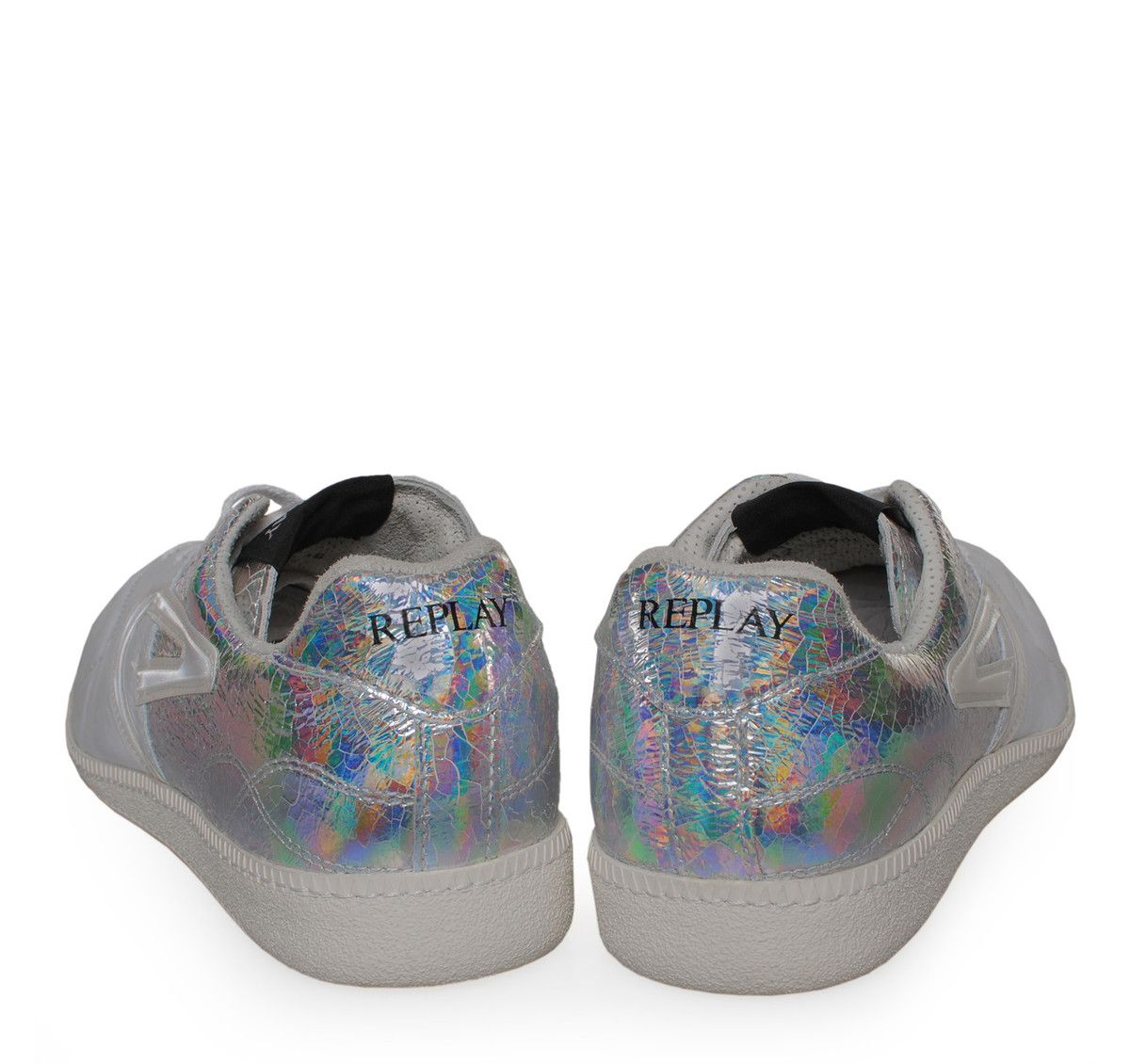 REPLAY White Silver Leather Textile Low-cut Sneakers with Laces. Ανδρικά  λευκά fa2a314d16c